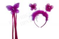 Ободок карнавальный с палочкой бабочка