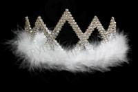 Корона карнавальная с белым пухом