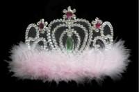 Корона карнавальная с розовым пухом